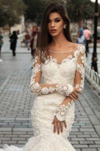 Brautkleid - Couture - ivory - Stickerei - Aermel- Godet