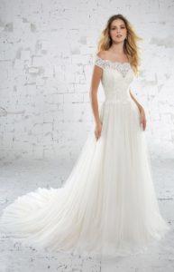 Brautkleid - Carmenausschnitt - A-Linie - Spitze - Schleppe