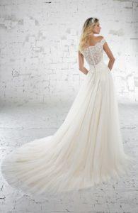 Brautkleid - Carmenausschnitt - Herzausschnitt - A-Linie - Spitze - Schleppe- Ruecken