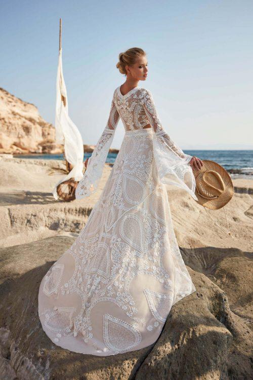 MF6402 Vintage Spitzenkleid Rückenausschnitt Hochzeitskleid (2) (1)