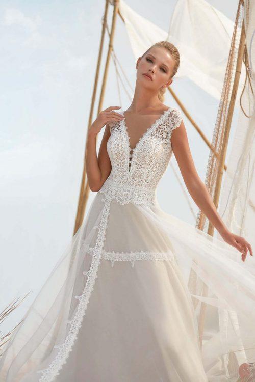 MF6402 Vintage Spitzenkleid Rückenausschnitt Hochzeitskleid (7) (1)